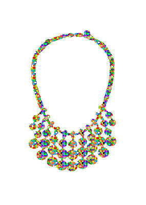 Jewel Strings Necklace  Artistic Color Tone N Textures Diy Template Download License Print Rights  Print by Navin Joshi