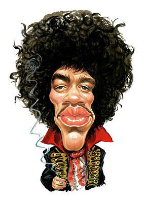 Humor. Painting - Jimi Hendrix by Art