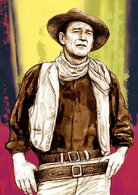 John Wayne Stylised Pop Art Drawing Potrait Poser Print by Kim Wang