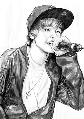 Bieber Drawing - Justin Bieber Art Drawing Sketch Portrait by Kim Wang