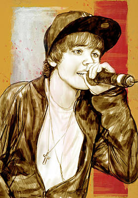 Bieber Drawing - Justin Bieber - Stylised Drawing Art Poster by Kim Wang
