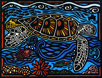 Lino-cut Mixed Media - Kahaluu Honu by Lisa Greig