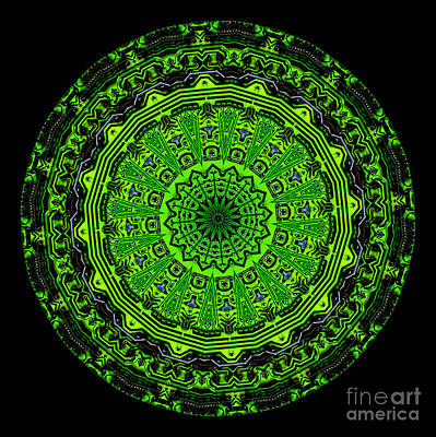 Kaleidoscope Of Glowing Circuit Board Print by Amy Cicconi