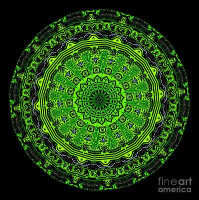 Kaleidoscope Of Glowing Circuit Board Print by Amy Cicconi