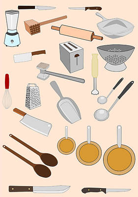 Toaster Digital Art - Kitchen Tools by John Orsbun