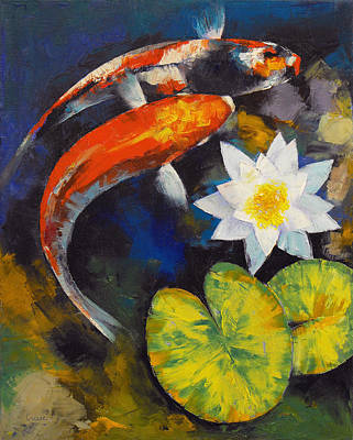 Koi Fish And Water Lily Print by Michael Creese
