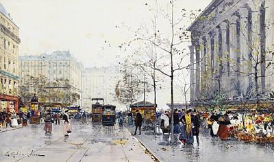 Jacques Painting - La Madeleine Paris by Eugene Galien-Laloue