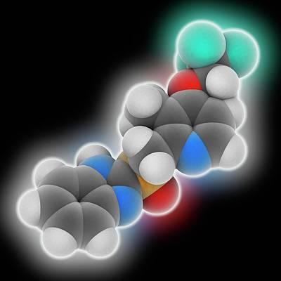 Lansoprazole Drug Molecule Print by Laguna Design