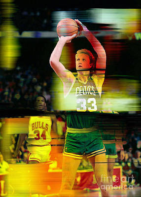 Nba Mixed Media - Larry Bird by Marvin Blaine