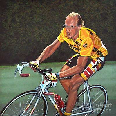 Cyclist Painting - Laurent Fignon  by Paul Meijering