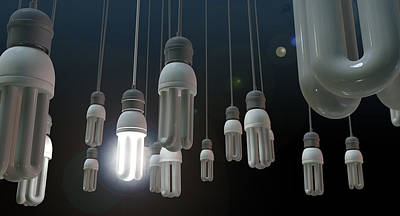 Leadership Hanging Lightbulb Print by Allan Swart