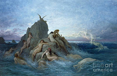 Sea Nymph Painting - Les Oceanides by Gustave Dore