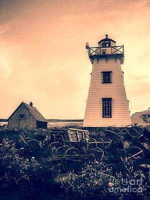 Lobster Traps Photograph - Lighthouse Prince Edward Island by Edward Fielding