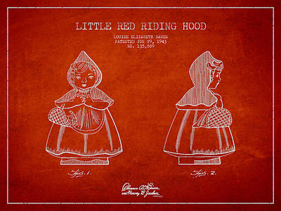 Fairy Tales Digital Art - Little Red Riding Hood Patent Drawing From 1943 by Aged Pixel