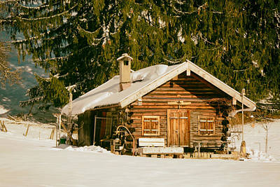 Log Cabin Photograph - Log Cabin In Winter Mountains - Germany by Mountain Dreams