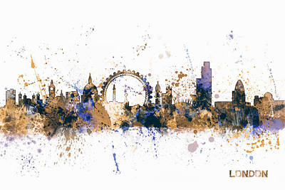 London Digital Art - London England Skyline by Michael Tompsett