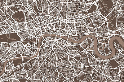 London England Street Map Print by Michael Tompsett
