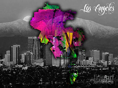 Los Angeles Skyline Mixed Media - Los Angeles Map And Skyline Watercolor by Marvin Blaine