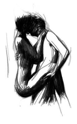 Male Nude Drawing Drawing - Lovers by Stefan Kuhn