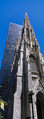St. Patricks Cathedral Photograph - Low Angle View Of A Cathedral, St by Panoramic Images