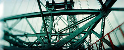 Built Structure Photograph - Low Angle View Of A Suspension Bridge by Panoramic Images