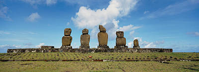 Ancient Civilization Photograph - Low Angle View Of Moai Statues by Panoramic Images