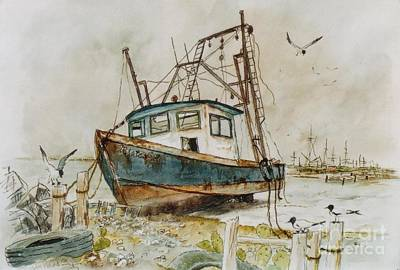 Flying Seagull Mixed Media - Low Tide by Don Hand