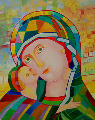Our Lady Nursing The Infant Jesus Orthodox Christian Icon. Virgin Mary And Child Painting Print by Magdalena Walulik