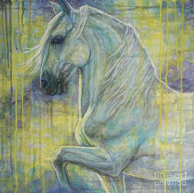 Dressage Painting - Magic Blue by Silvana Gabudean