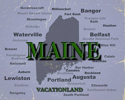 Maine State Pride Map Silhouette  Print by Keith Webber Jr
