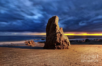 Malibu Beach Rock Print by Charline Xia