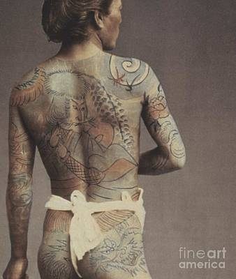 Nude Men Photograph - Man With Traditional Japanese Irezumi Tattoo by Japanese Photographer