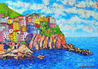 Rooftops Painting - Manarola Cinque Terre Italy  by Ana Maria Edulescu
