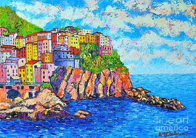 Manarola Cinque Terre Italy  Print by Ana Maria Edulescu