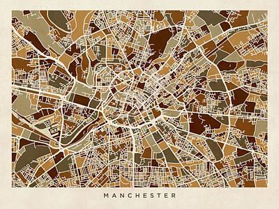 Manchester Digital Art - Manchester England Street Map by Michael Tompsett