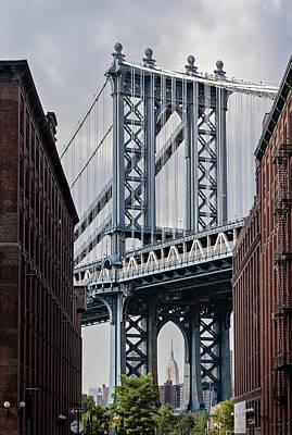 Manhattan Bridge Frames The Empire State Building Print by Susan Candelario