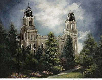 Lds Painting - Manti Utah Temple-pathway To Heaven Pastel by Marcia Johnson