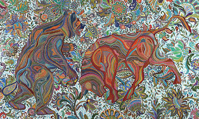Greed Painting - Market Nature by Erika Pochybova