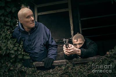 Masked Men With A Gun Print by Jan Mika