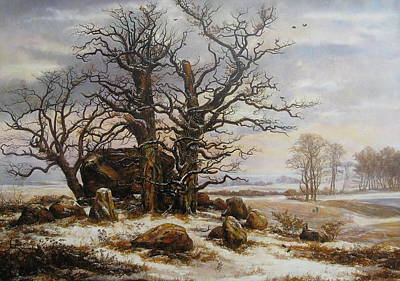 Megalith Painting - Megalithic Grave In Winter by Yauhen Hubski