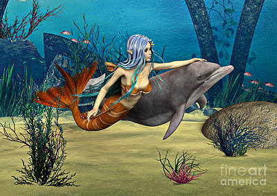 Two Tailed Mixed Media - Mermaid And Dolphin by Design Windmill
