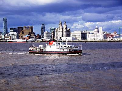 Scouse Photograph - Mersey Ferry And Liverpool Waterfront by Steve Kearns