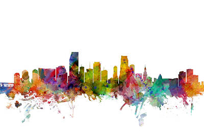 Silhouette Digital Art - Miami Florida Skyline by Michael Tompsett