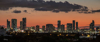 Miami Sunset Skyline Print by Rene Triay Photography