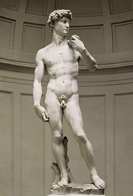 Statue Portrait Photograph - Michelangelo 1475-1564. David by Everett