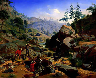 Gold Rush Painting - Miners In The Sierras  by Mountain Dreams