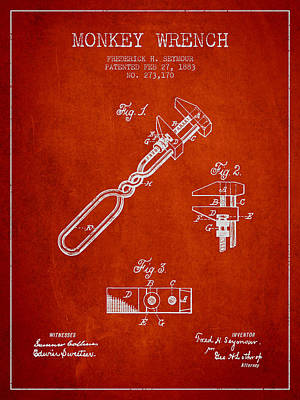 Monkey Wrench Patent Drawing From 1883 Print by Aged Pixel