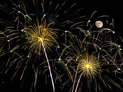 Moon Over Golden Starburst- July Fourth - Fireworks Print by Penny Lisowski