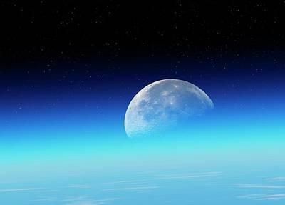 Moon Over The Earth Print by Detlev Van Ravenswaay