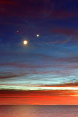 Venusian Photograph - Moon With Jupiter And Venus by Luis Argerich